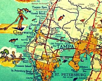 Tampa Florida Map.St Petersburg Map Etsy