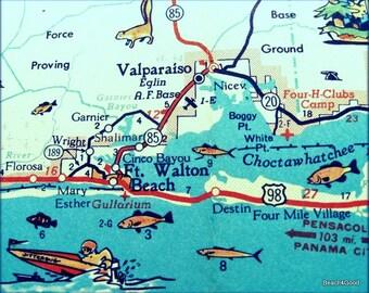 Map Destin Florida.Vintage Map Art Of Destin Florida 8x10 Retro Map Ft Walton Etsy