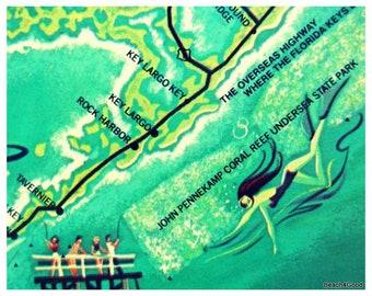 The Florida Keys Map.Florida Keys Art Etsy