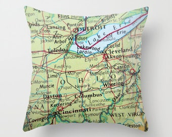 Erie Islands Map Throw Pillow Cover Put In Bay Pillow Put Etsy