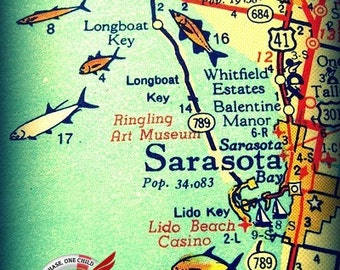Map Of Florida Sarasota.Sarasota Florida Map Pillow Covers Sarasota Beach House Etsy