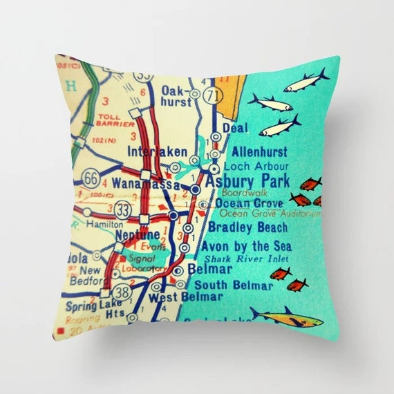Asbury Park New Jersey Map.Asbury Park Pillow Covers Ocean Grove Map Jersey Shore Map Pillow Etsy