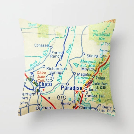 Paradise California Map.Travel Gifts Paradise California Pillow Covers California Map Pillow Wanderlust Gifts Chico Ca Paradise Map Throw Pillow Map Throw Pillow