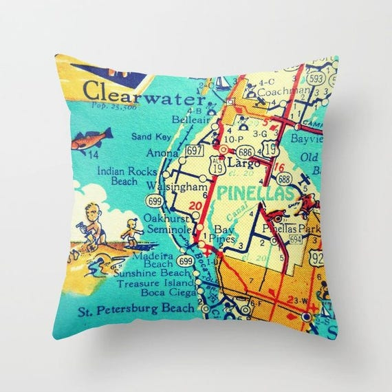Indian Shores Florida Map.Clearwater Florida Map Pillow Covers Pinellas Beach House Etsy