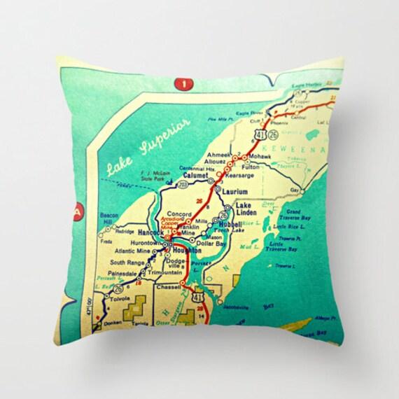 Concord Michigan Map.Personalized Michigan Map Pillow Covers Custom Michigan Gift Etsy