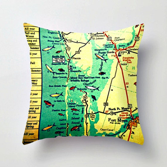 Florida Map Fort Myers.Custom Florida Map Pillow Covers Florida Home Gifts Boca Etsy