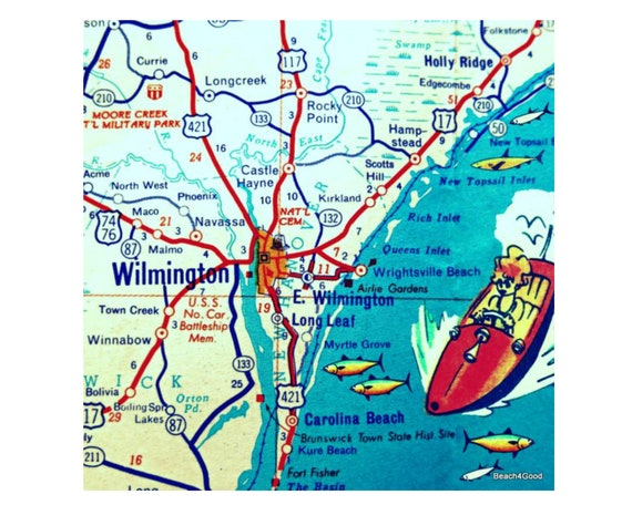 WILMINGTON map Wilmington North Carolina map wall art thoughtful gifts for  him NC Home Decor vintage map city art Topsail Wrightsville Beach