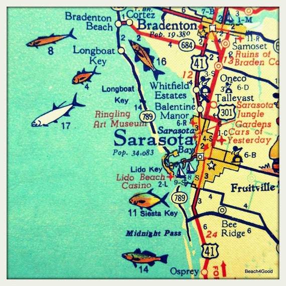 Siesta Key Map Florida Meaningful gifts for dad Sarasota Siesta Key Florida map | Etsy