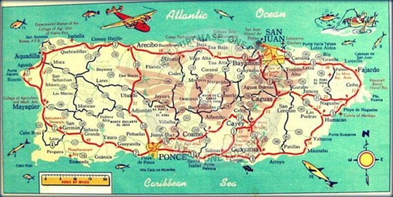 Travel Gift PUERTO RICO map art print Home Decor Wanderlust | Etsy