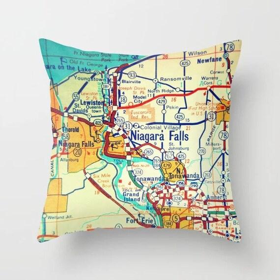 Niagara Falls Map Pillow Covers New York Map Pillows Modern Home Decor Niagara Falls Ny Gifts