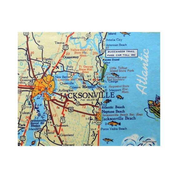 Jacksonville Florida Map, Jacksonville Beach Art, Old Florida Art, Hostess  Gift, Beach Decor, Vintage Map, Beach House Art, Beach Home Decor