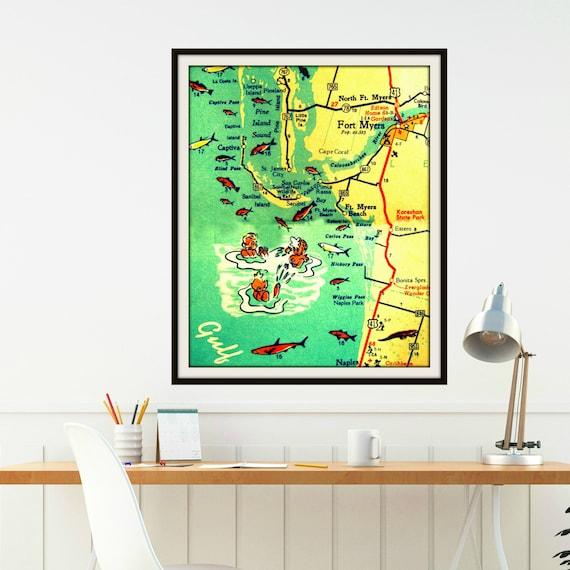 Sanibel Beach Florida Map.Retro Ft Myers Florida Map Art 8x10 Sanibel Fl Map Print Ft Etsy