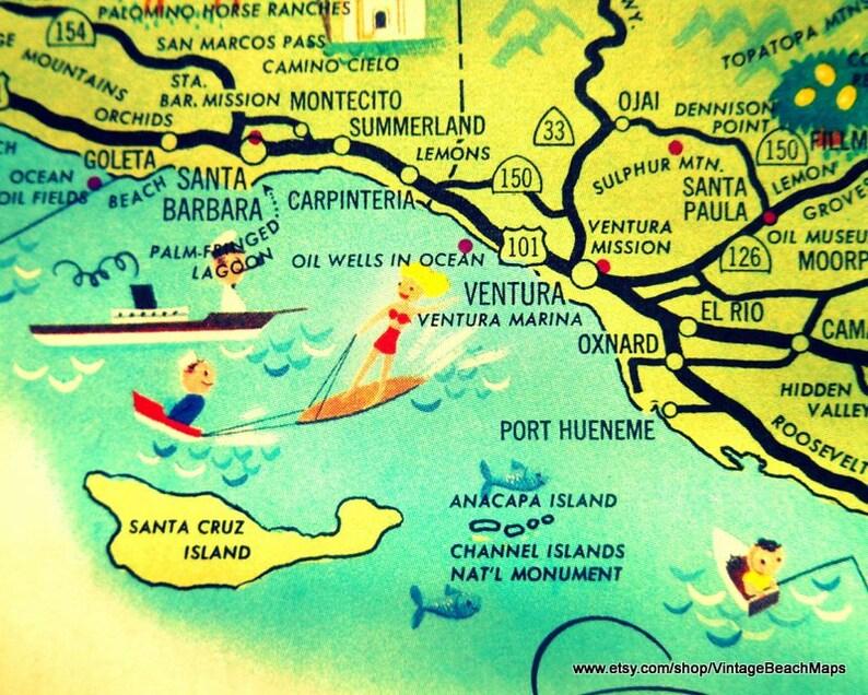 Vintage California Map Print Cool Travel Gifts Ventura Etsy