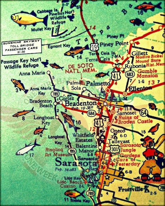 Siesta Key Florida Map.Anna Maria Island Map Travel Gift Florida Map Art Anna Maria Etsy