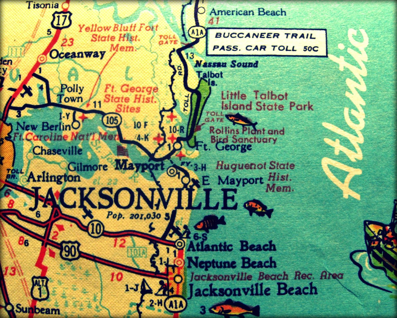 image about Printable Map of Jacksonville Fl identified as common map JACKSONVILLE retro Florida image print 8x10 Neptune Atlantic Beach front 1960s aqua yellow wall artwork coastal decor visualize