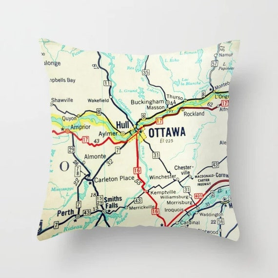 Ottawa On Map Of Canada.Ottawa Map Pillow Covers Custom Canada Map Pillow Canada Gifts Travel Decor Travel Gifts Exchange Student Gifts Study Abroad Gift