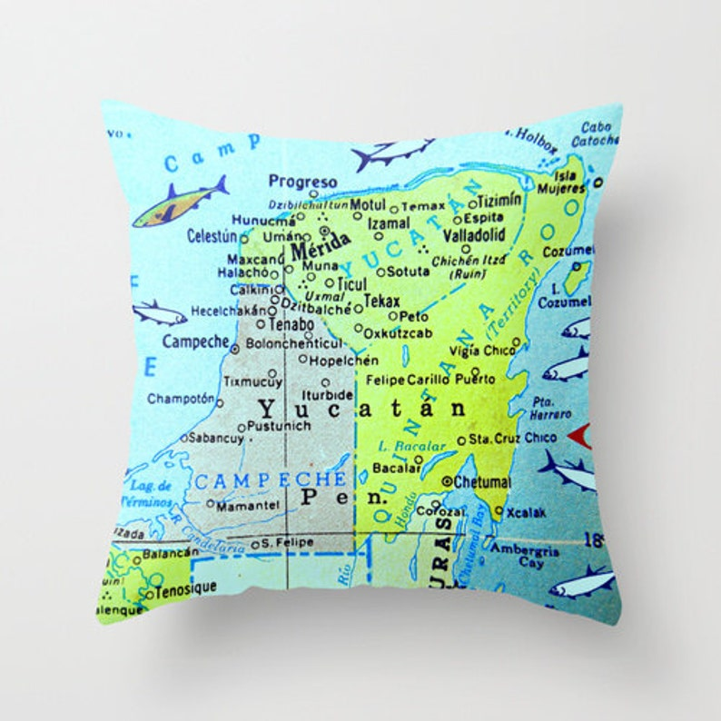Yucatan Map Pillow Covers Map Pillow Mexico Pillow Merida Etsy