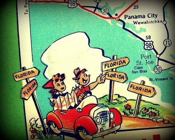 Panama City Beach Florida Map.Retro Panama City Beach Map Retro Beach Art Vintage Florida Etsy