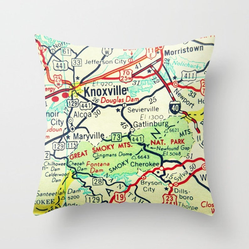 Gatlinburg Tennessee Map Pillow Covers Tennessee Gifts TN Map | Etsy