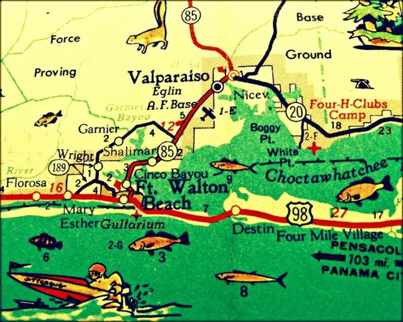 Denton Florida Map.Vintage Map Art Of Destin Florida 8x10 Retro Map Ft Walton Etsy