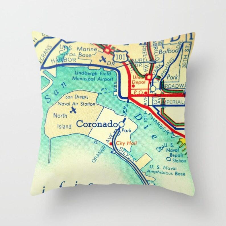 Coronado Island pillow cover 18x18 vintage California map | Etsy