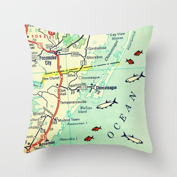 Custom Virginia Pillow Cover Chesapeake Virginia Map Pillow Etsy