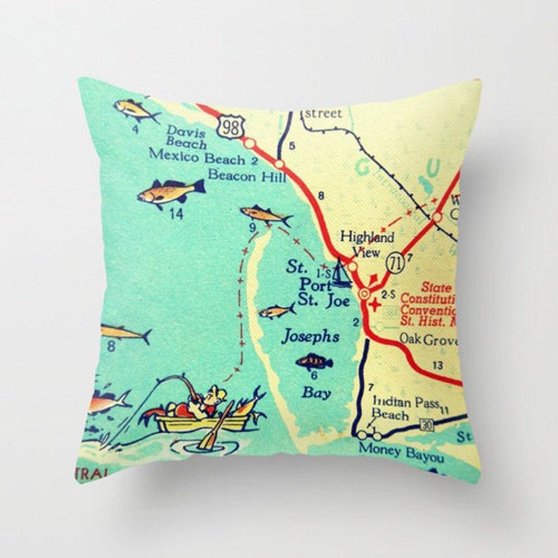 Mexico Florida Map.Mexico Beach Pillow Covers Florida Map Art Pillow Port St Etsy