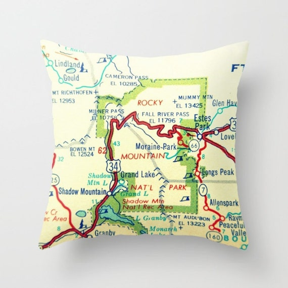 Rocky Mountains Wyoming Map.Colorado Wyoming Map Pillow Cover Colorado Gifts Wyoming Etsy