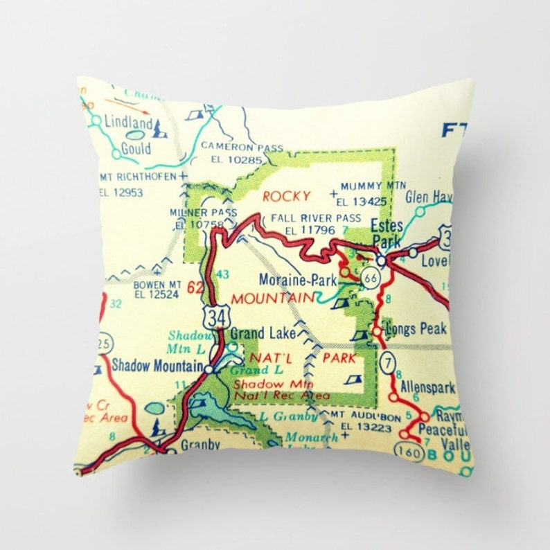 Colorado Wyoming Map Pillow Cover, Colorado Gifts, Wyoming Gifts, Rocky  Mountain National Park Denver Map, Cheyenne CO WY Housewarming Gift