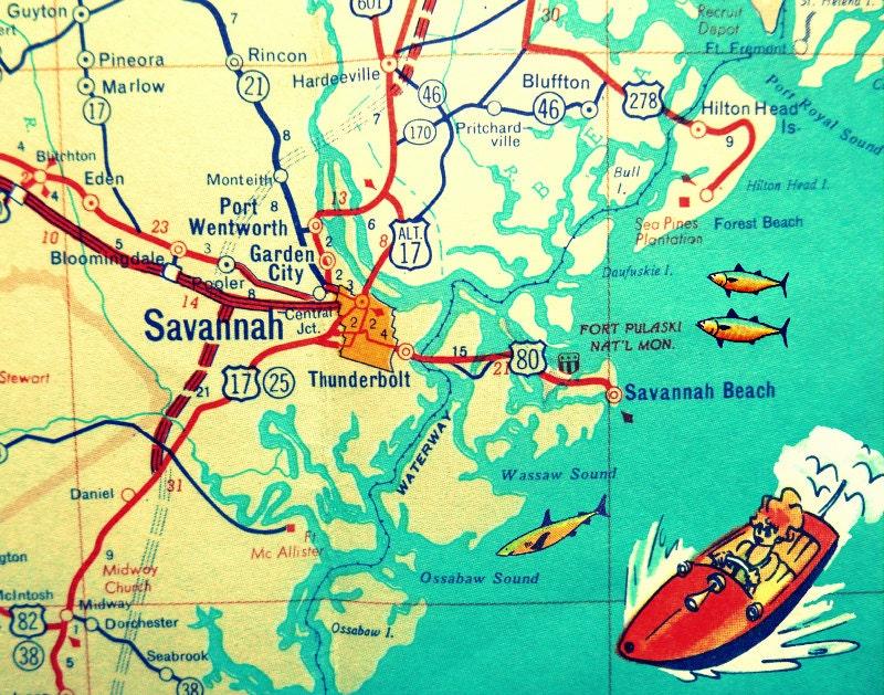 Georgia Map For Kids.Savannah Map Savannah Georgia Map Print Hilton Head Island Etsy