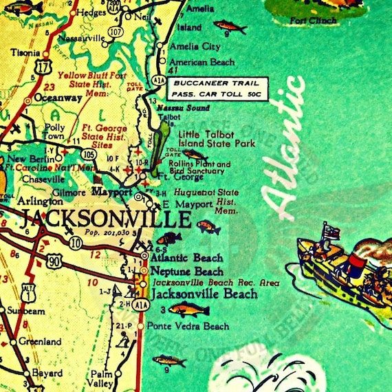 Jacksonville Florida Map Jacksonville Beach Art Old Florida | Etsy