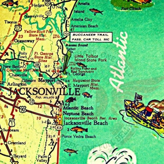 Map Jacksonville Florida.Jacksonville Florida Map Jacksonville Beach Art Old Florida Etsy