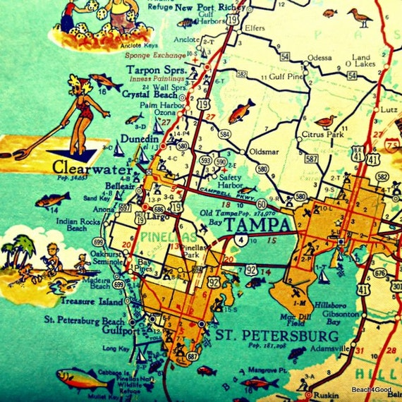 St Petersburg Florida Map.Tampa Florida Map Clearwater St Petersburg Beach Home Decor Etsy
