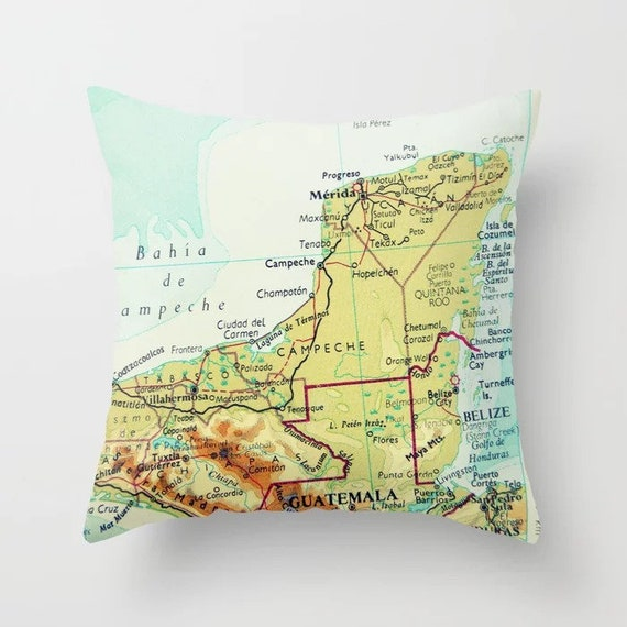 Yucatan Map Pillow Covers Mexico Pillow Couch Pillow Etsy