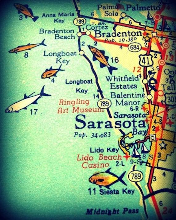 Siesta Key Florida Map.Cute Sarasota Map Print 8x10 Siesta Key Florida Vintage Etsy