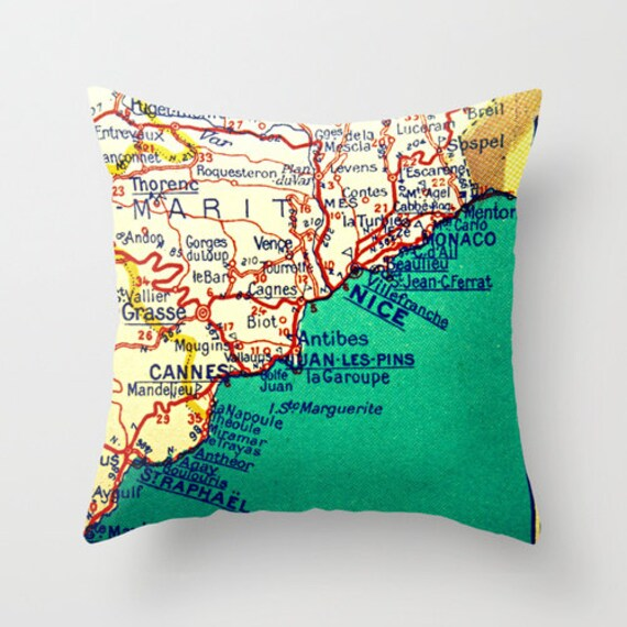 Marseille Map Of France.Cannes France Map Pillow Cover France Pillow Nice Marseille Etsy