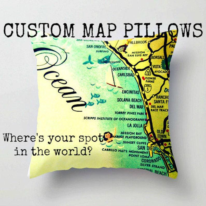 Niagara Falls Map Pillow Covers New York Map Pillows Modern Etsy
