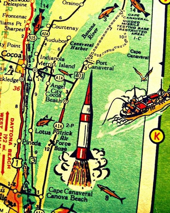 Cape Canaveral Florida Map.Cape Canaveral Florida Map Art Print Nasa Rocket Vintage Etsy