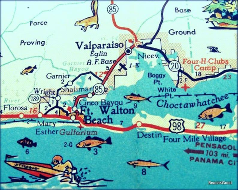 DESTIN Florida beach art Destin Map Destin FL Florida art | Etsy
