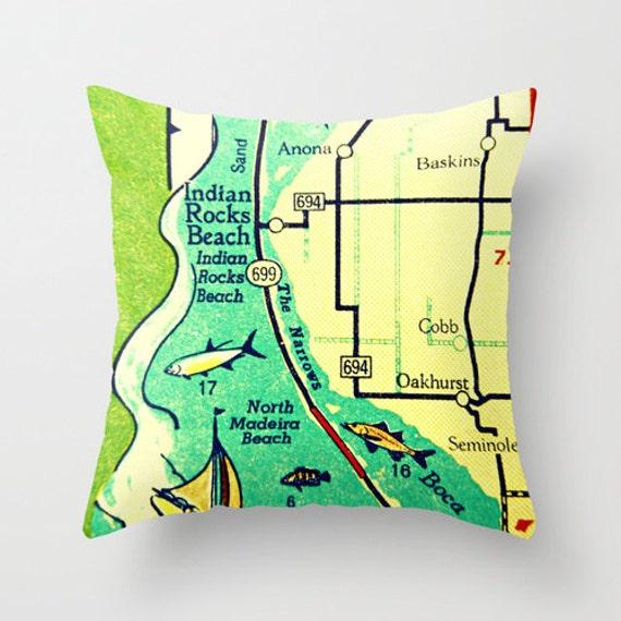 Indian Rocks Beach Pillow Covers 18x18 Map Throw Pillow Etsy