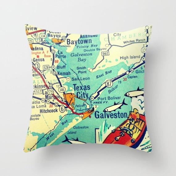 Galveston Texas Map Pillow | Freeport Beach House Decor | Mid Century on velasco texas map, el paso texas map, la marque texas map, galveston island, san leon texas map, port arthur texas map, webster texas map, texas coastline map, new braunfels texas map, gonzales texas map, galveston bridge, nacogdoches texas map, gainesville texas map, san antonio texas map, harlingen texas map, galveston cruise terminal, beaumont texas map, kemah texas map, houston map, corpus christi map,