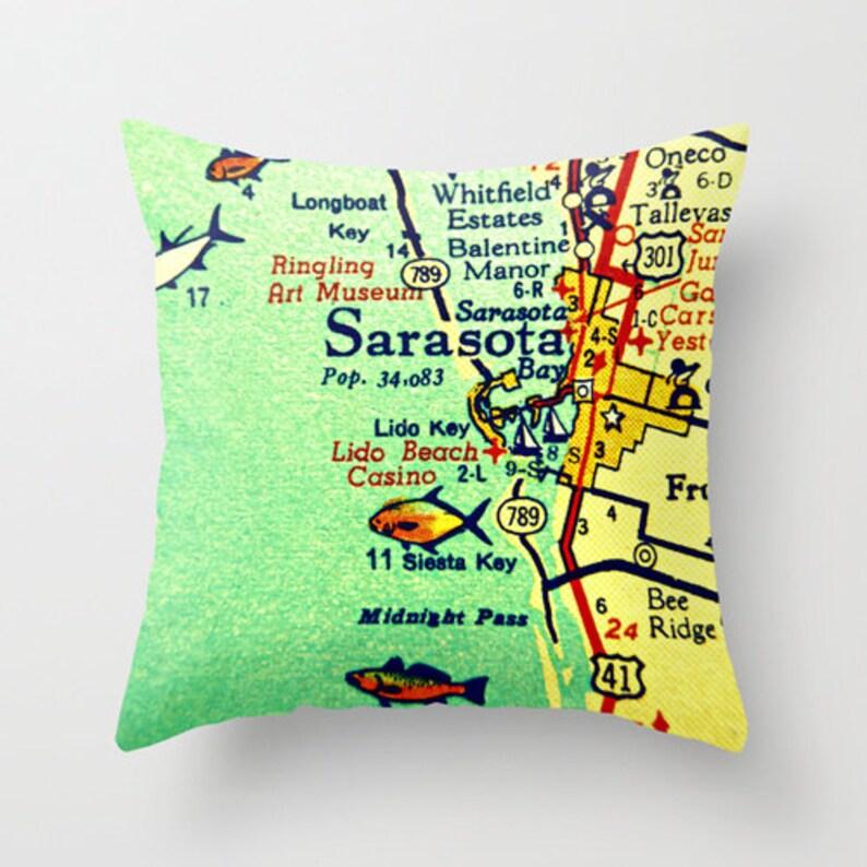 Sarasota Florida Map Pillow Covers Sarasota Beach House Etsy