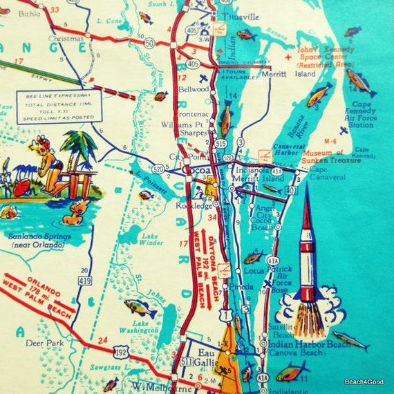 Cocoa Beach Florida Map.Cocoa Beach Florida Map Cape Canaveral Beach House Decor Etsy
