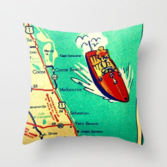 Cocoa Beach Florida Map.Cocoa Beach Pillow Covers 18x18 Florida Map Pillow Cocoa Etsy
