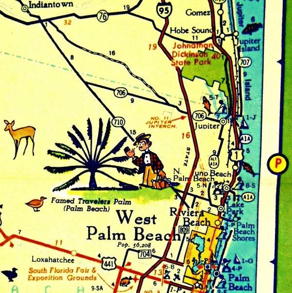 West Palm Beach Florida Map.West Palm Beach Map Art West Palm Beach Florida Map Florida Etsy