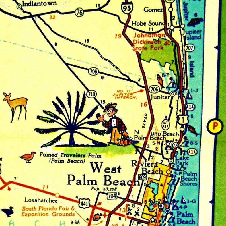 West Palm Beach Map Art West Palm Beach Florida Map Vintage Etsy