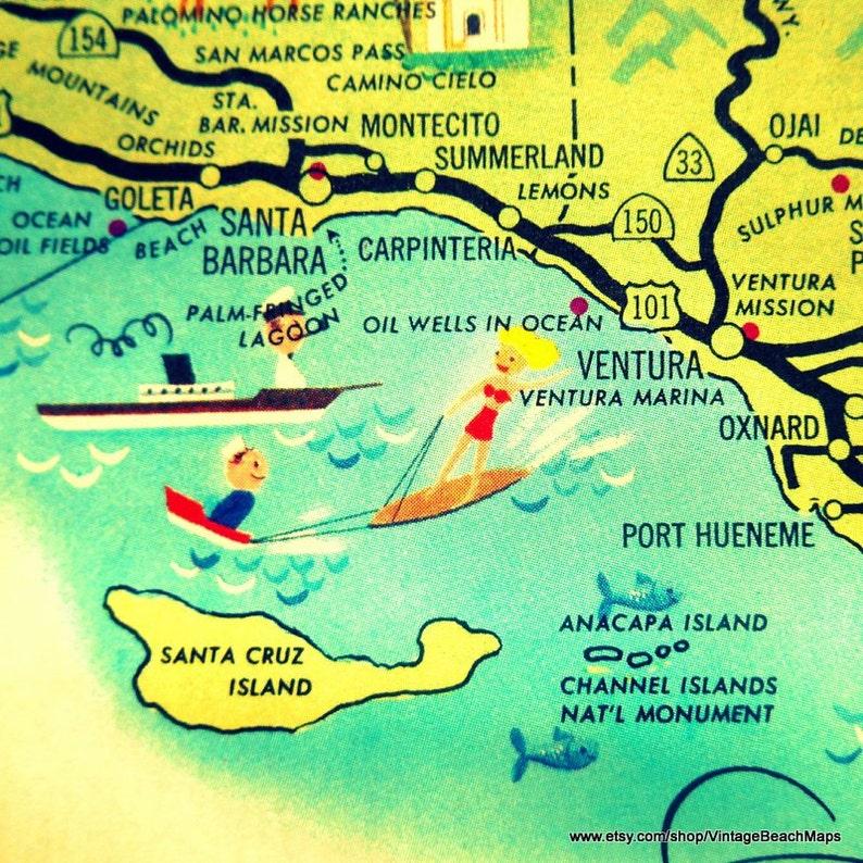 Square Ventura California Map Vintage Ventura Ca Santa Etsy