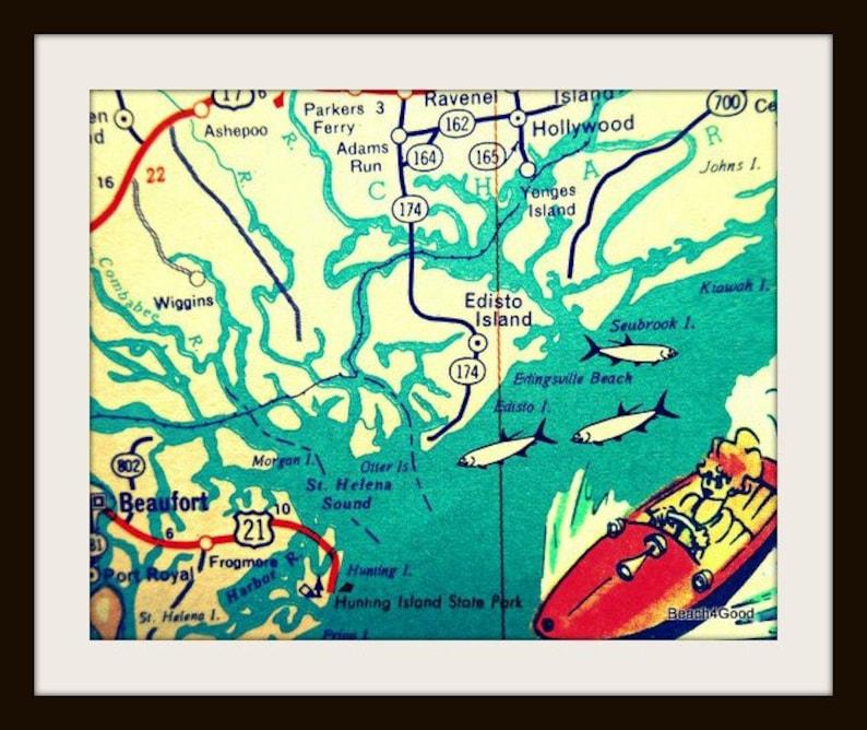 South Carolina Map Islands.Edisto Island South Carolina Map Art Beaufort Hunting Kiawah Etsy