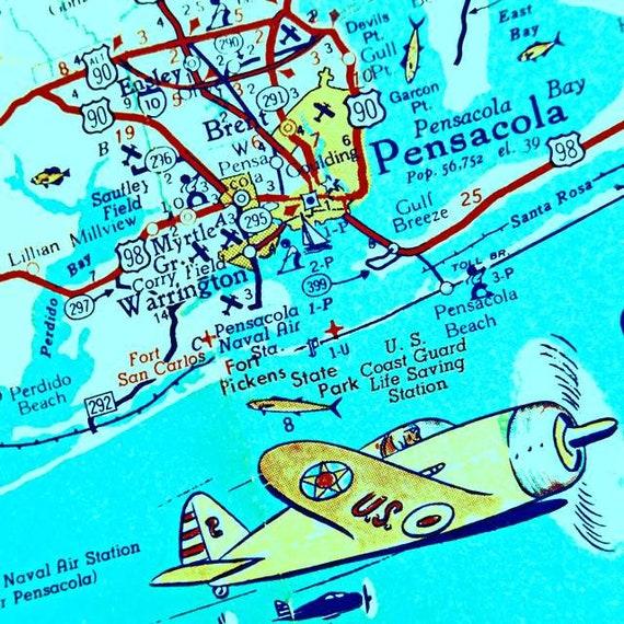 Pensacola Beach Florida Map.Pensacola Beach 12x12 20x20 Retro Florida Art Panhandle Map Etsy
