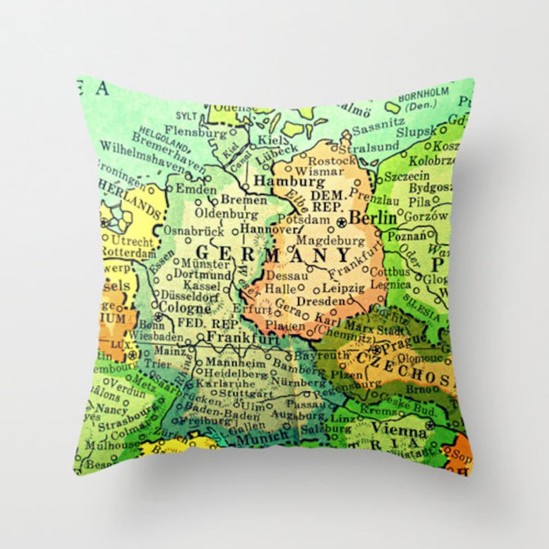Germany Pillow Covers Map Of Germany Pillow Frankfurt Berlin Etsy